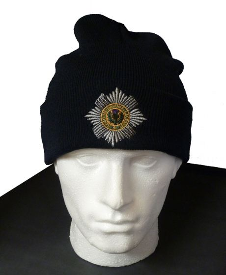 The Scots Guards - Woolen Beanie Hat featuring the cap badge of the scots guards.